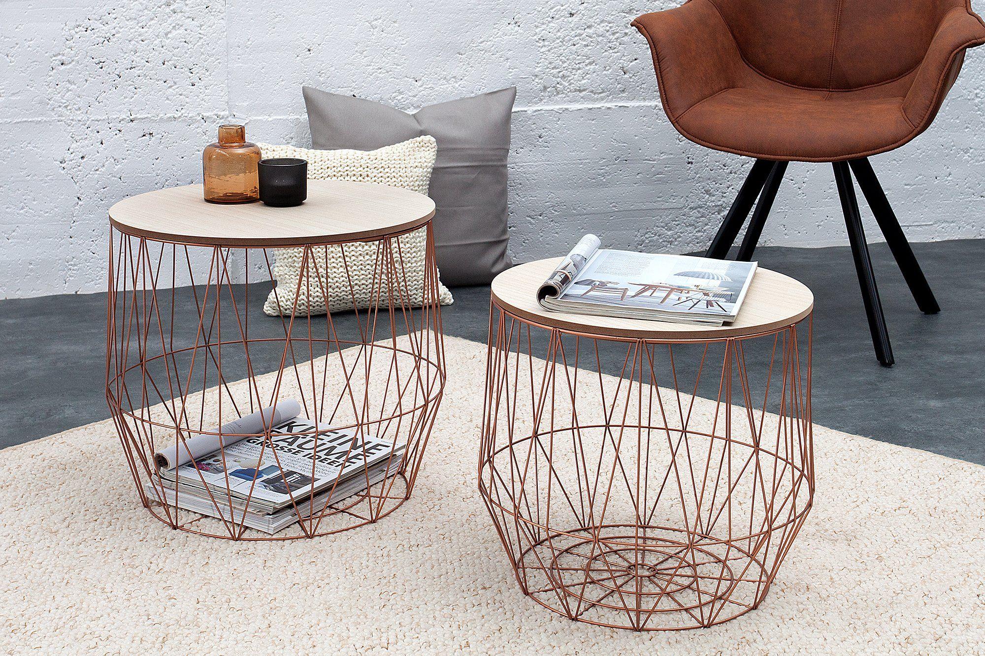Dunord Design Beistelltisch Korb Metall Rund 2er Set Couchtisch Arezzo Kupfer Eiche Tisch Ablage In 2020 Couchtisch Modern Beistelltische Couchtisch
