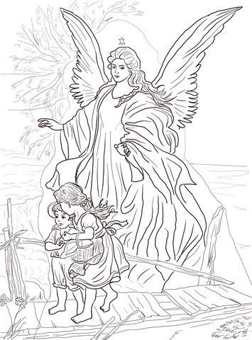 Un Ángel Guardián Protege a los Niños Dibujo para colorear