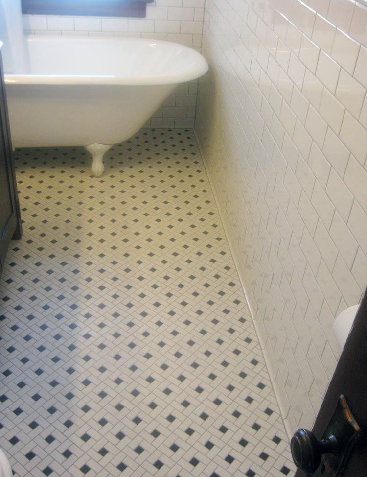 Mosaic Floor Tile and Clawfoot Tub Classic yet simple