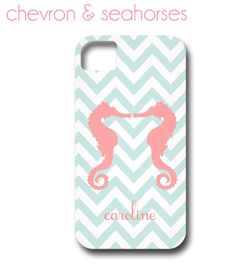Monogrammed Seahorses Chevron iPhone Cover by ShorelyChic on Etsy, $44.00
