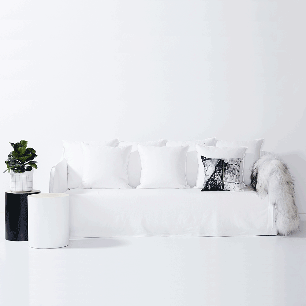 Bronte White Italian Linen Sofa Removable Slip Cover