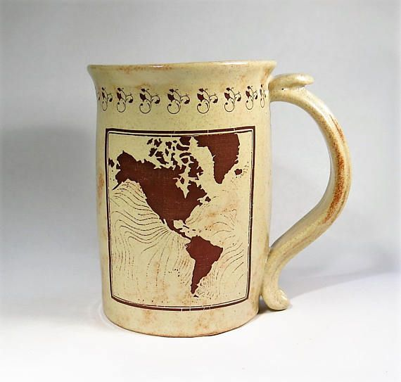 World Map Mug Large Sepia Coffee Cup Gift For Travelers - Large sepia world map