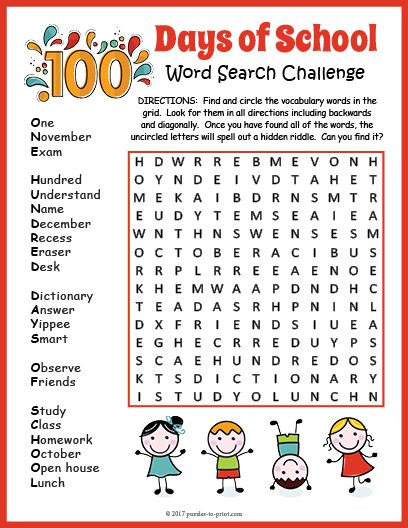 100th Day Of School Word Search Word Search 100 Days