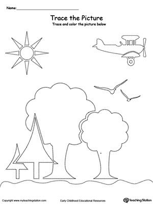 Trace the Picture: Scenary (Trees, Sun, Airplane and Birds ...