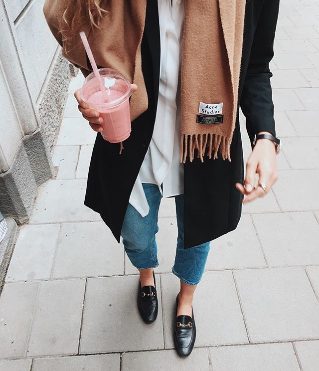 Fall minimalist style - Acne scarf and Gucci loafers   A Stylish Life   Pinterest   Gucci ...