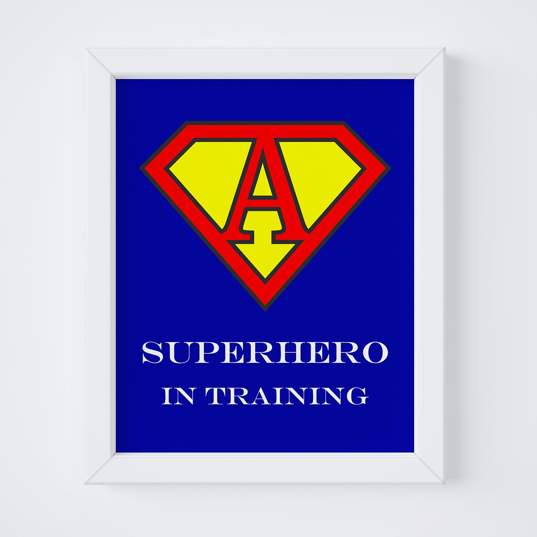 Superman superhero print superhero printable superhero wall art letter a nursery art printable wall art nursery letter print