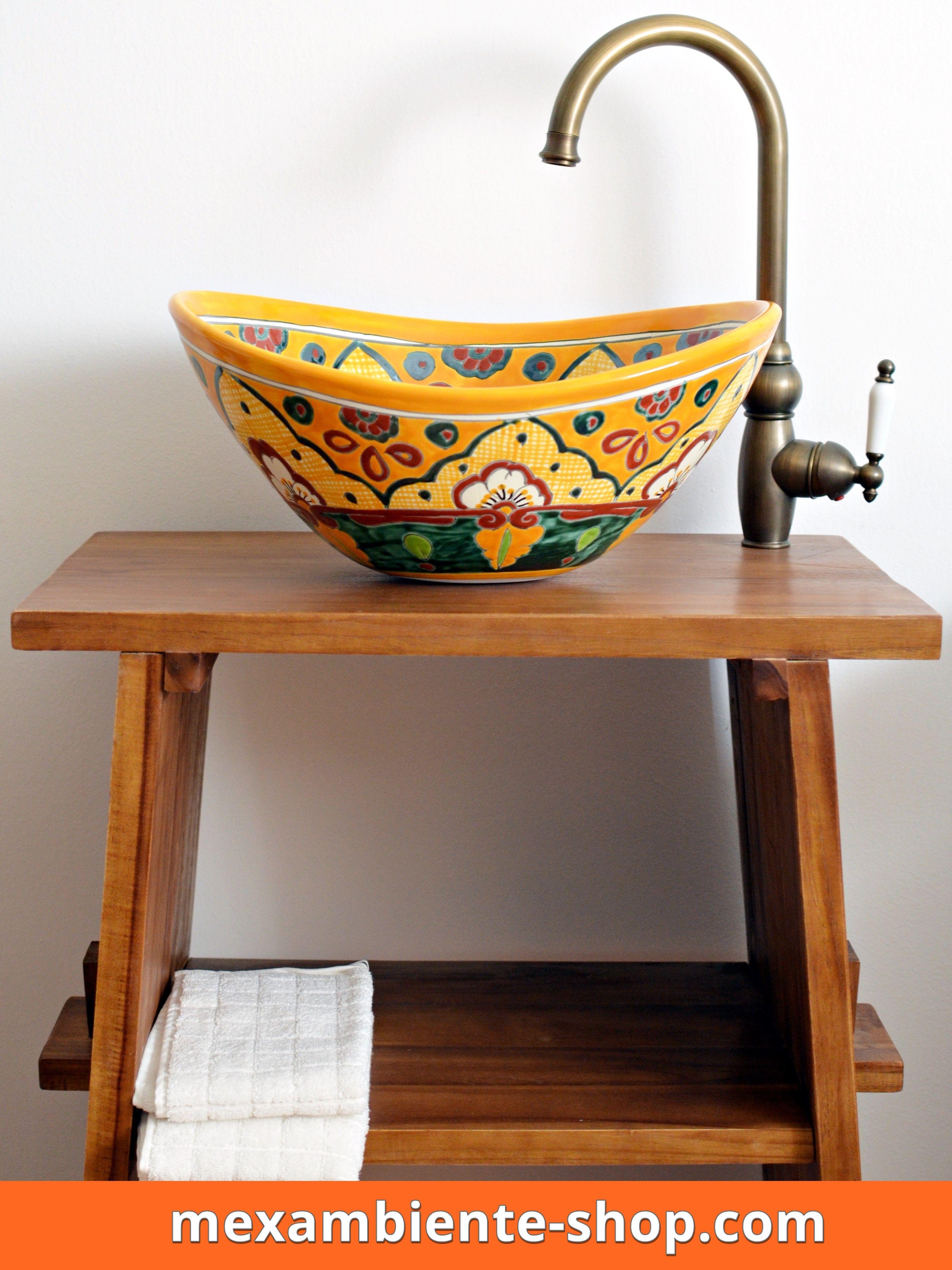 Exquisit Ausgefallene Waschbecken Foto Von Gäste Wc Aus Mexiko In Mango Gelb,