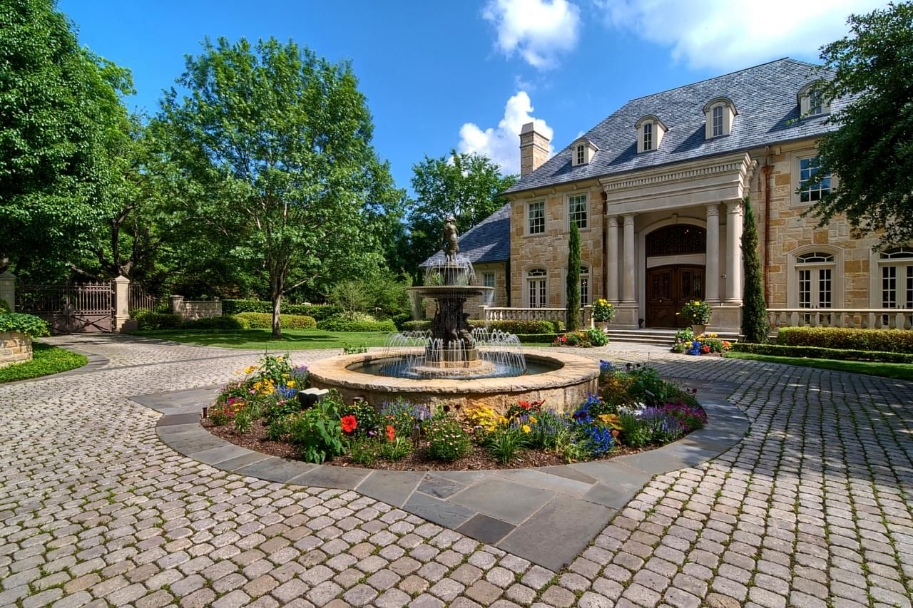 Front Yard Fountain Ideas Part - 21: Classy-Front-Yard-Fountain-with-Colorful-Flowers-closed-