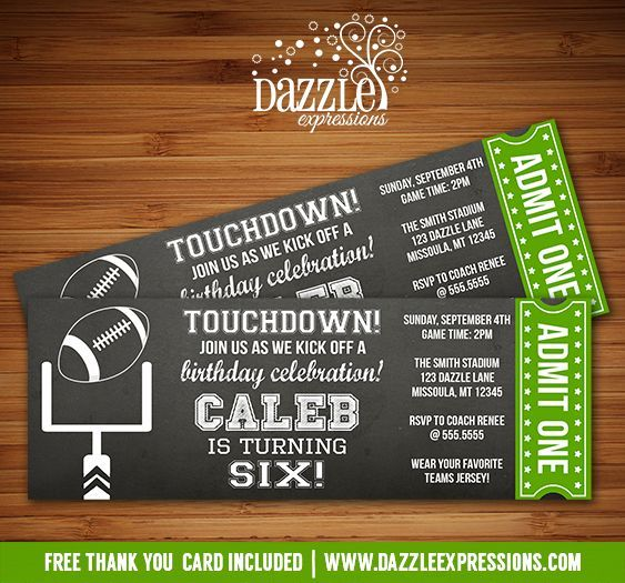 Printable Chalkboard Football Ticket Birthday Invitation Ftbol