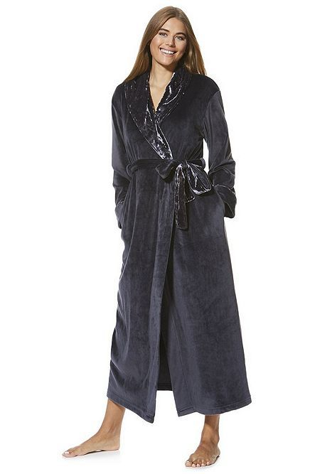 Tesco direct  F F Fleece Crushed Velour Trim Maxi Dressing Gown ... 36ee560a3