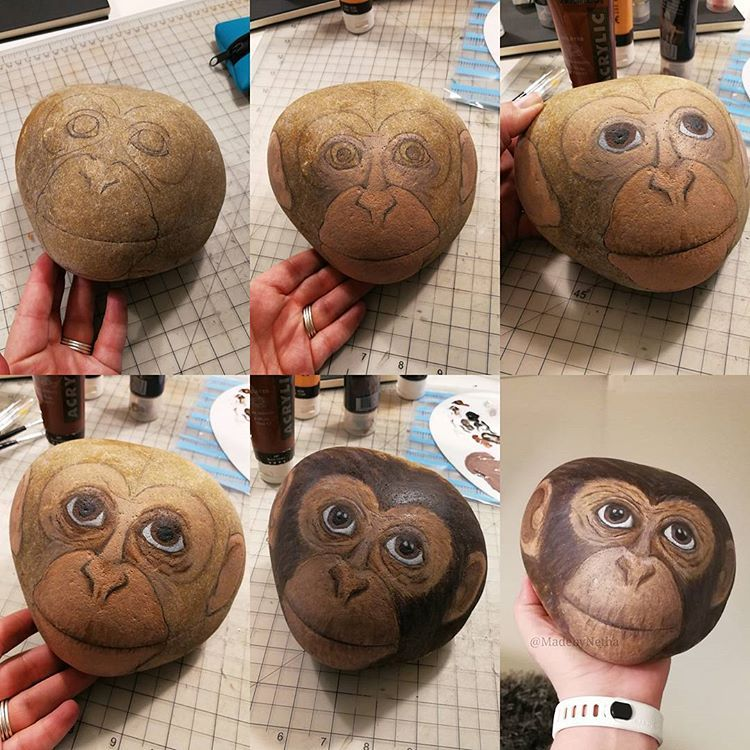 Chimpanzee from start to finish painted with acrylic