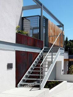 Houzz Outdoor Steel Stairs Google Search Exterior Stairs Modern Exterior Modern Architecture