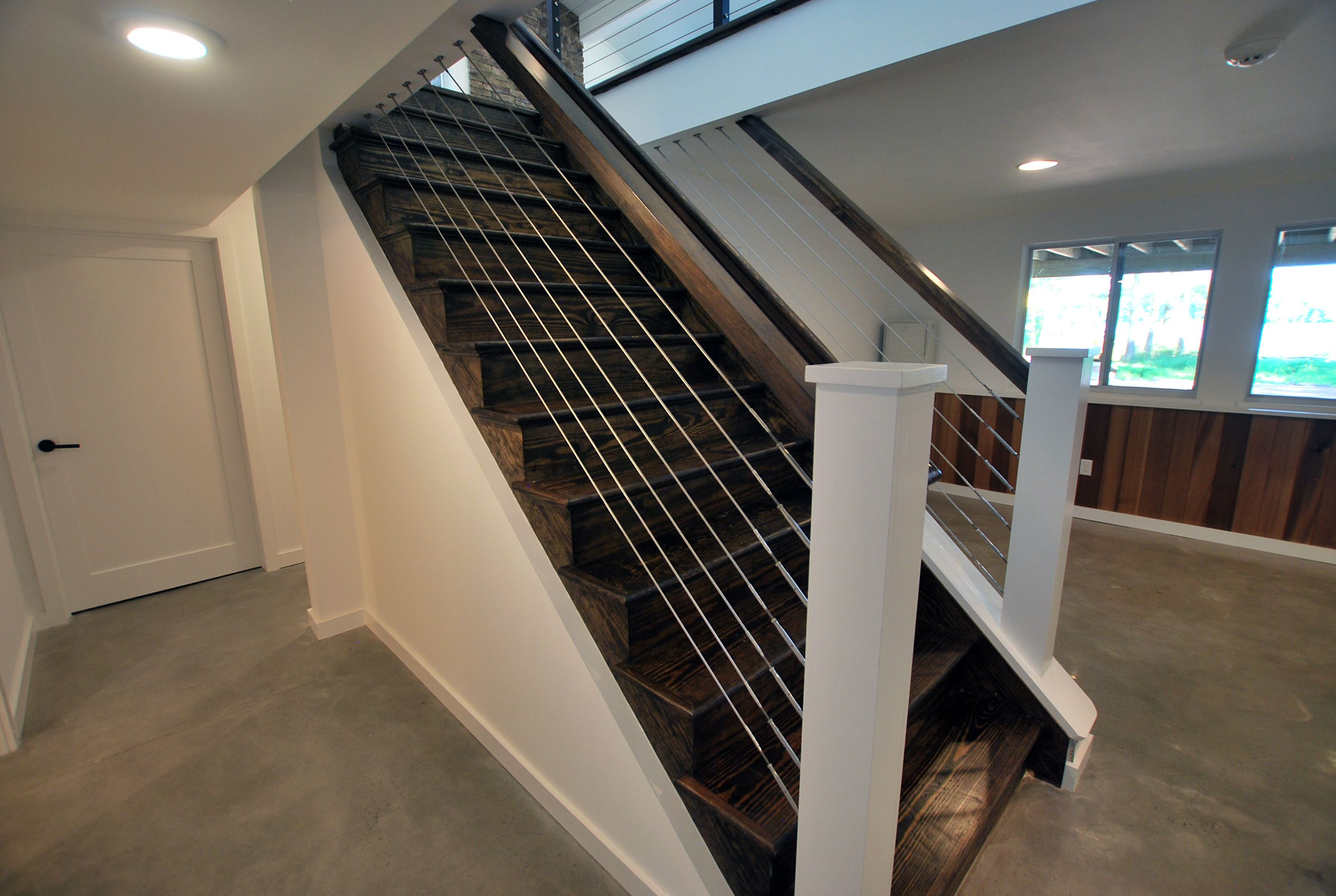 Best Jacobean Stained Stairs With Cable Rail Railings 400 x 300
