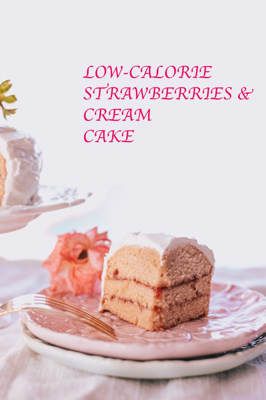Low calorie strawberries and cream cake recipe