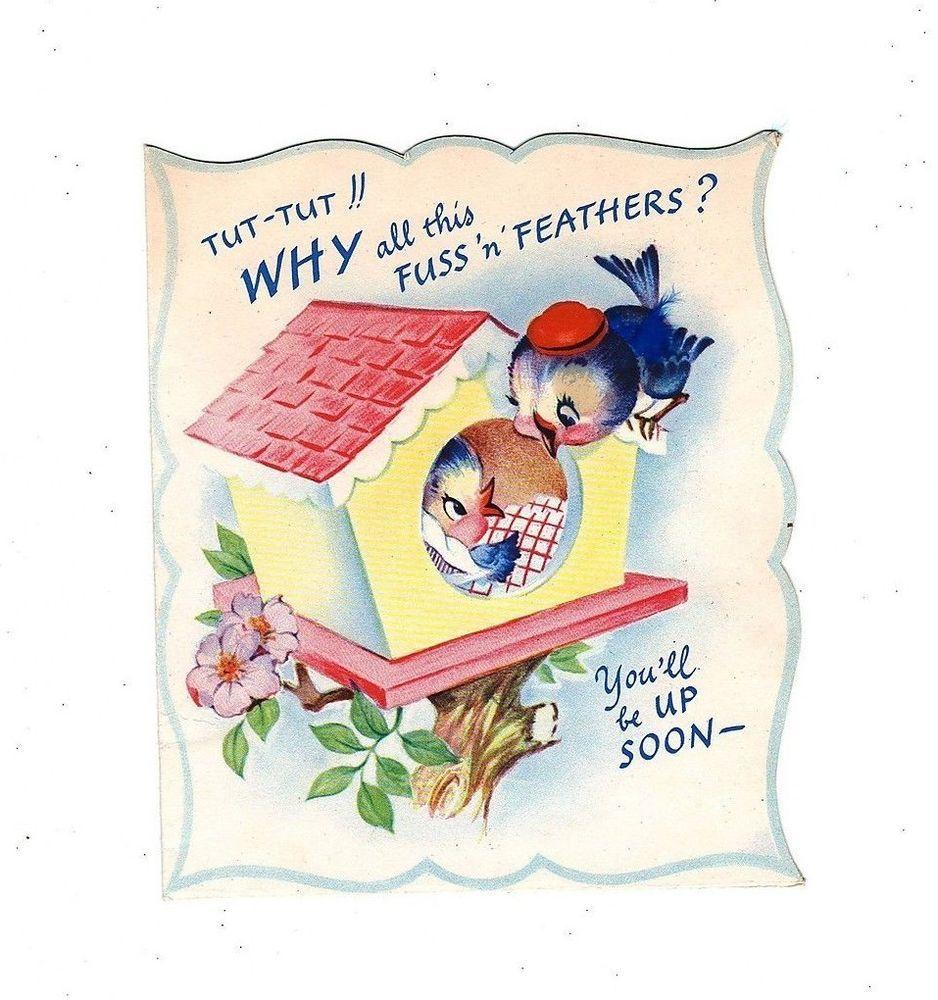 Vintage Bluebird Sick In Bed Greeting Card Vintaged Get Well