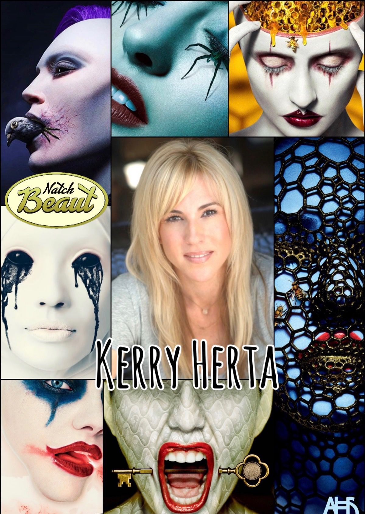 Special effects makeup artist Kerry Herta and some of her