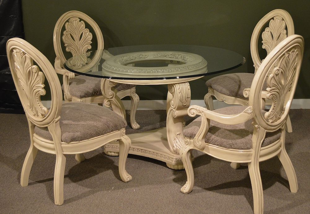 54 Quot Round Glass Top Dining Room Table W 4 Chairs Neo
