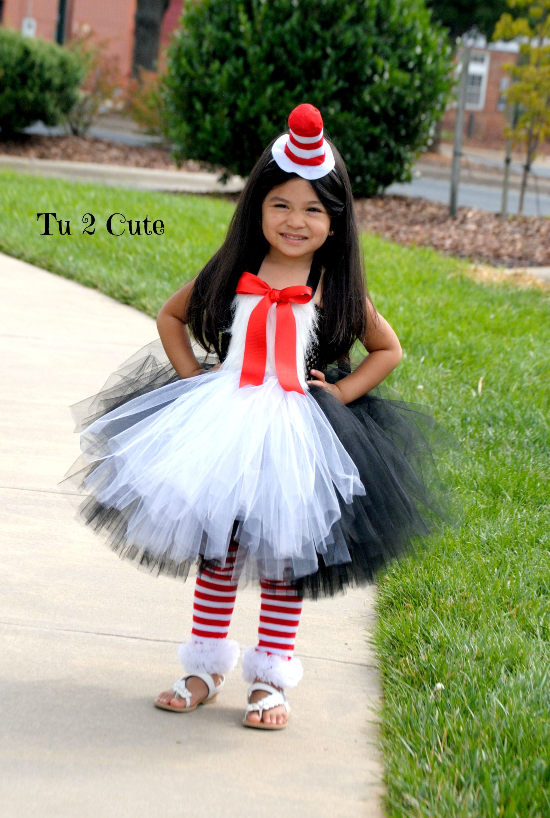 Cat In the Hat World Book Day Fancy Dress Girls Bow Fur Print Top And Mini TuTu