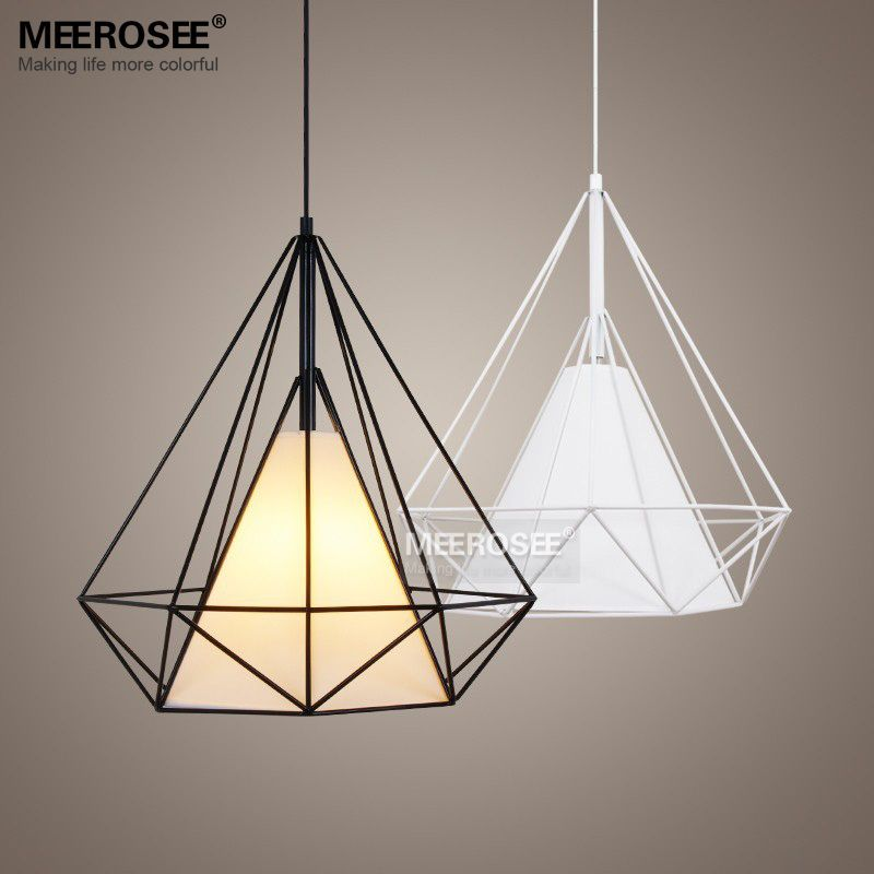 Modern Birdcage Pendant Light Fixture Scandinavian Art Pyramid