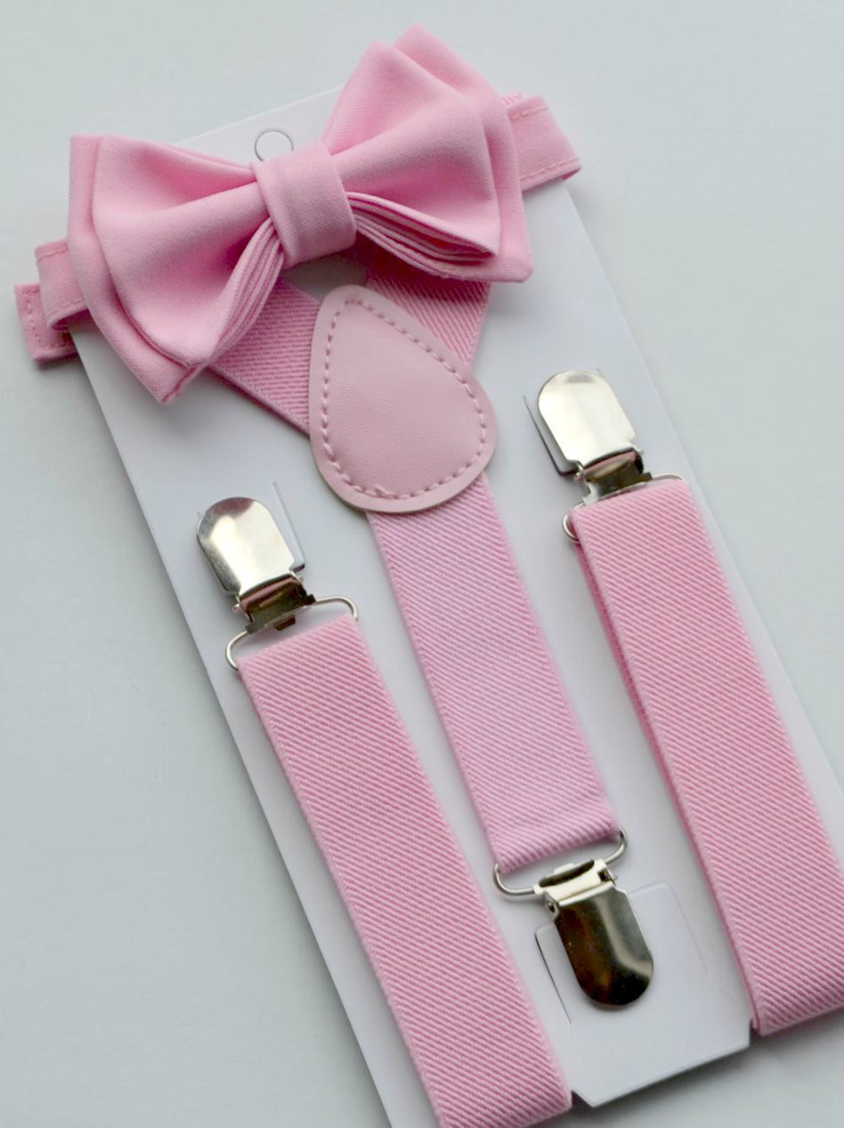 7ec58afa5fdf Candy Pink Bow Tie & Pink Suspenders for Baby Toddler Boy   Pretty ...