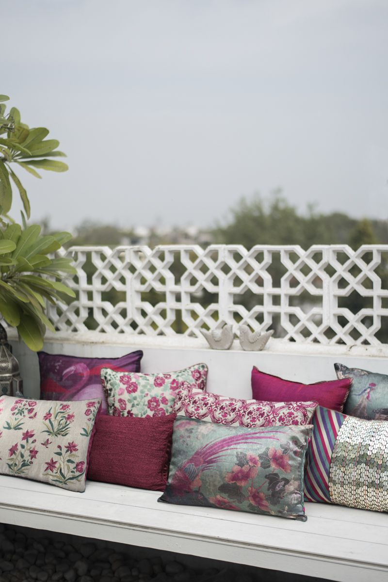 A cerise story carmine is a coordinate range of cushions that