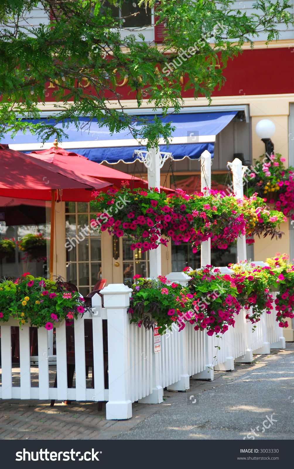 Pretty Restaurant Patio Decorated With Purple Petunia Flower Boxes And  Baskets
