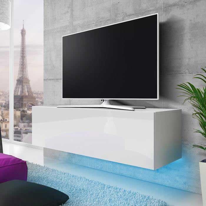 Meuble Tv Lana Avec Led Bleue Blanc Mat Blanc Bri En 2020 Meuble Tv Blanc Meuble Tv