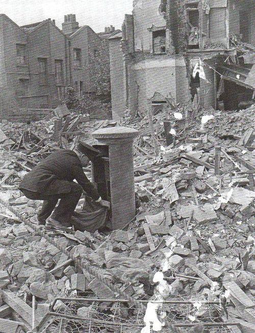 A British Postman On His Rounds London Blitz 1940 A British