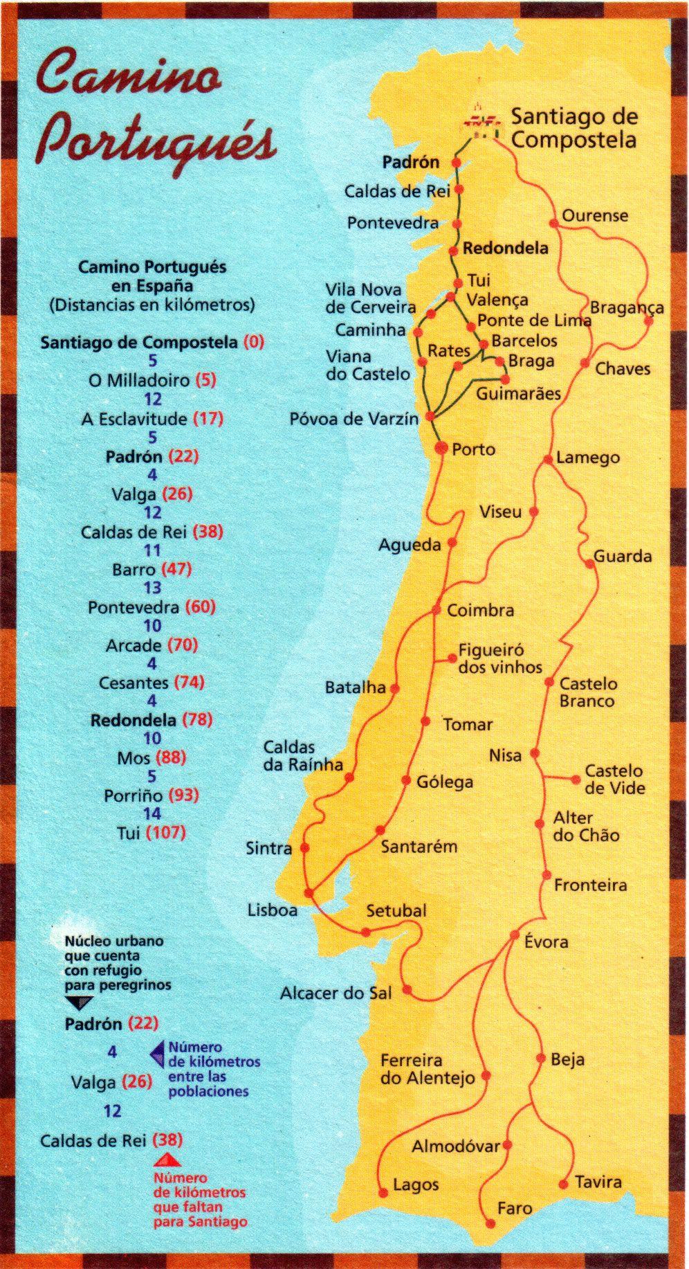 mapa caminho de santiago portugues Mapas do Caminho de Santiago   Caminho de Santiago de Compostela  mapa caminho de santiago portugues