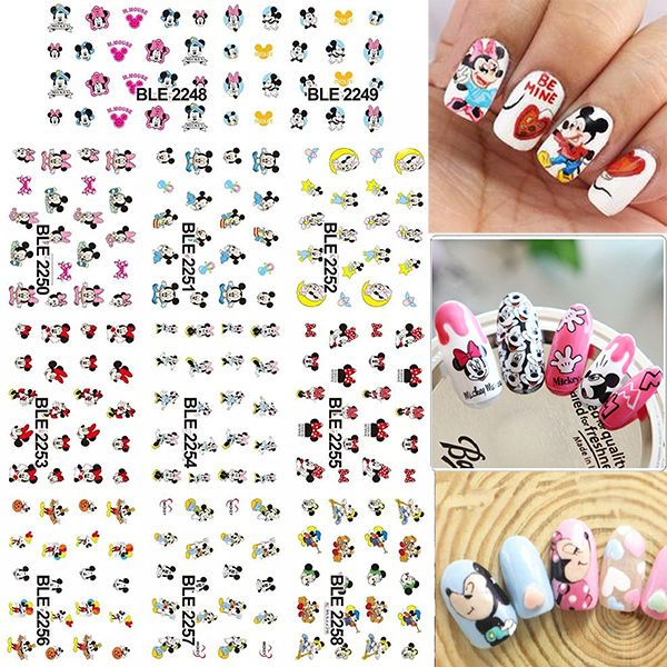 11 Sheets Large Disney Mickey Minnie Mouse Water Transfer Nail Art ...
