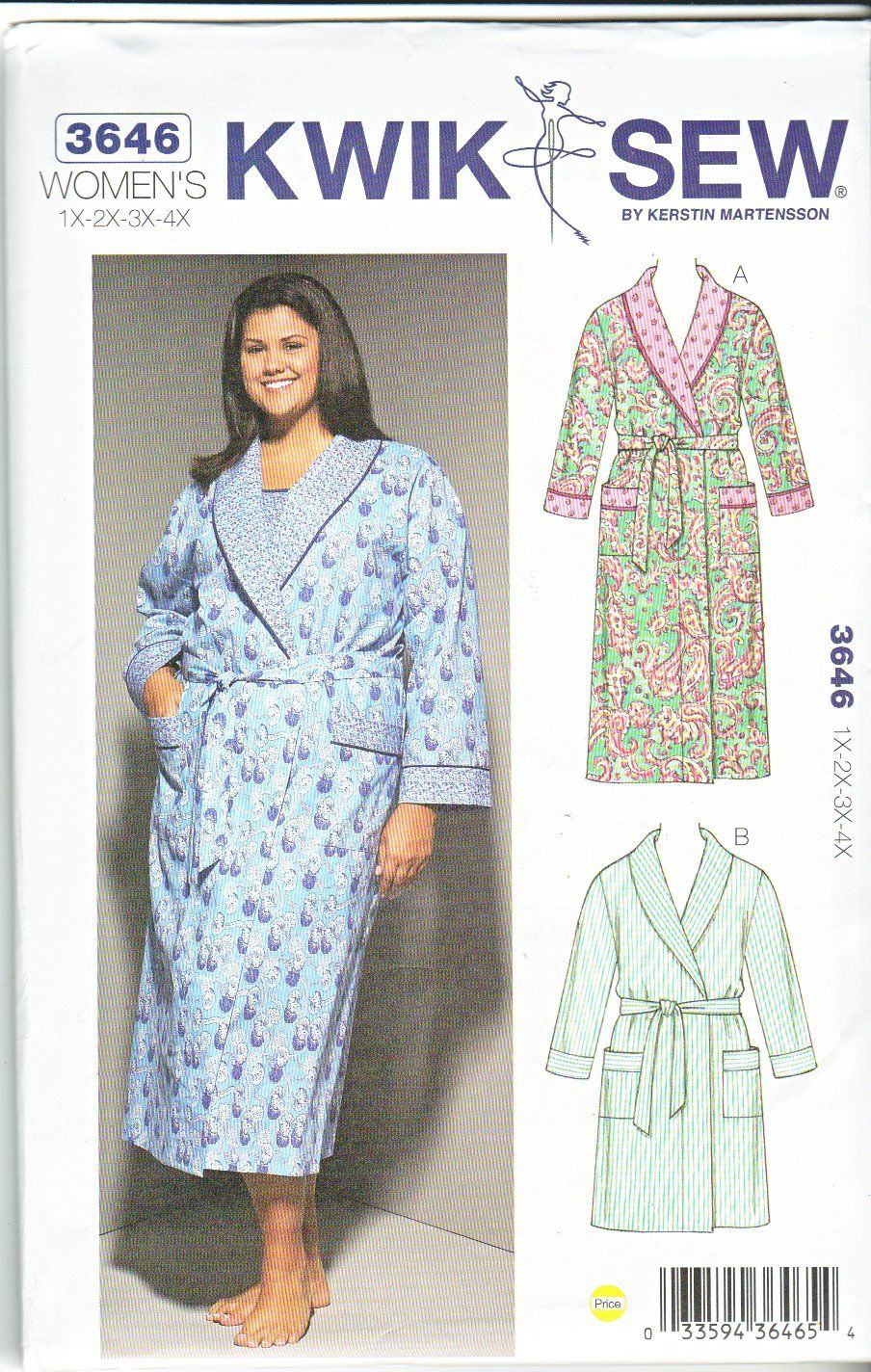 Kwik sew sewing pattern 3646 k3646 womens plus size 1x 4x 22w kwik sew sewing pattern 3646 womens plus size front wrap bathrobe robe jeuxipadfo Gallery