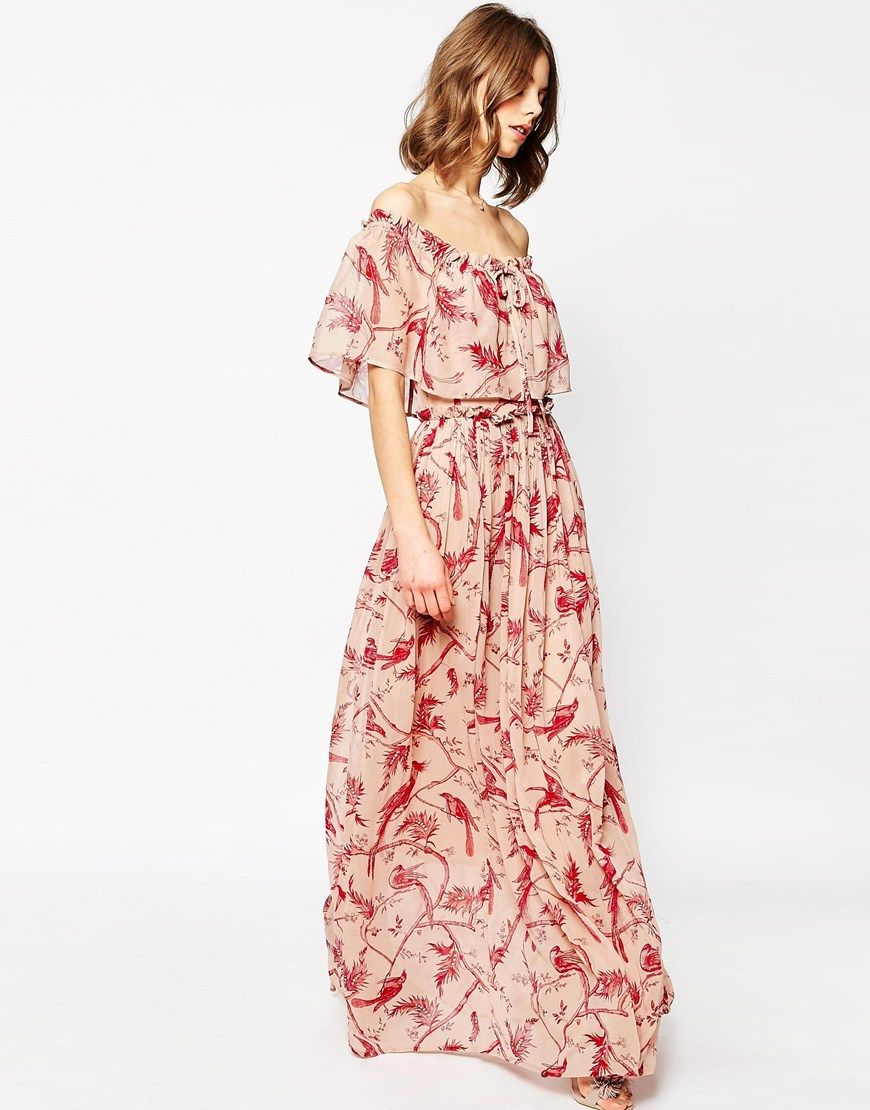 5be0942c59e Image 4 of ASOS Printed Ruffle and Tiered Off Shoulder Maxi Dress