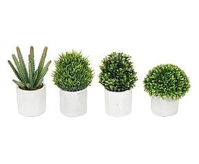 Set di 4 piantine artificiali con vaso garden