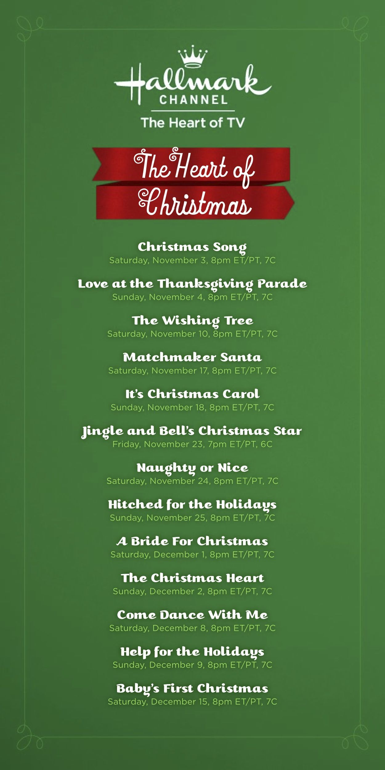 Hallmark Movie Guide Here Is The Holiday Movie Lineup For The Hallmark Channel Christmas Movies Holiday Movie Hallmark Christmas Movies