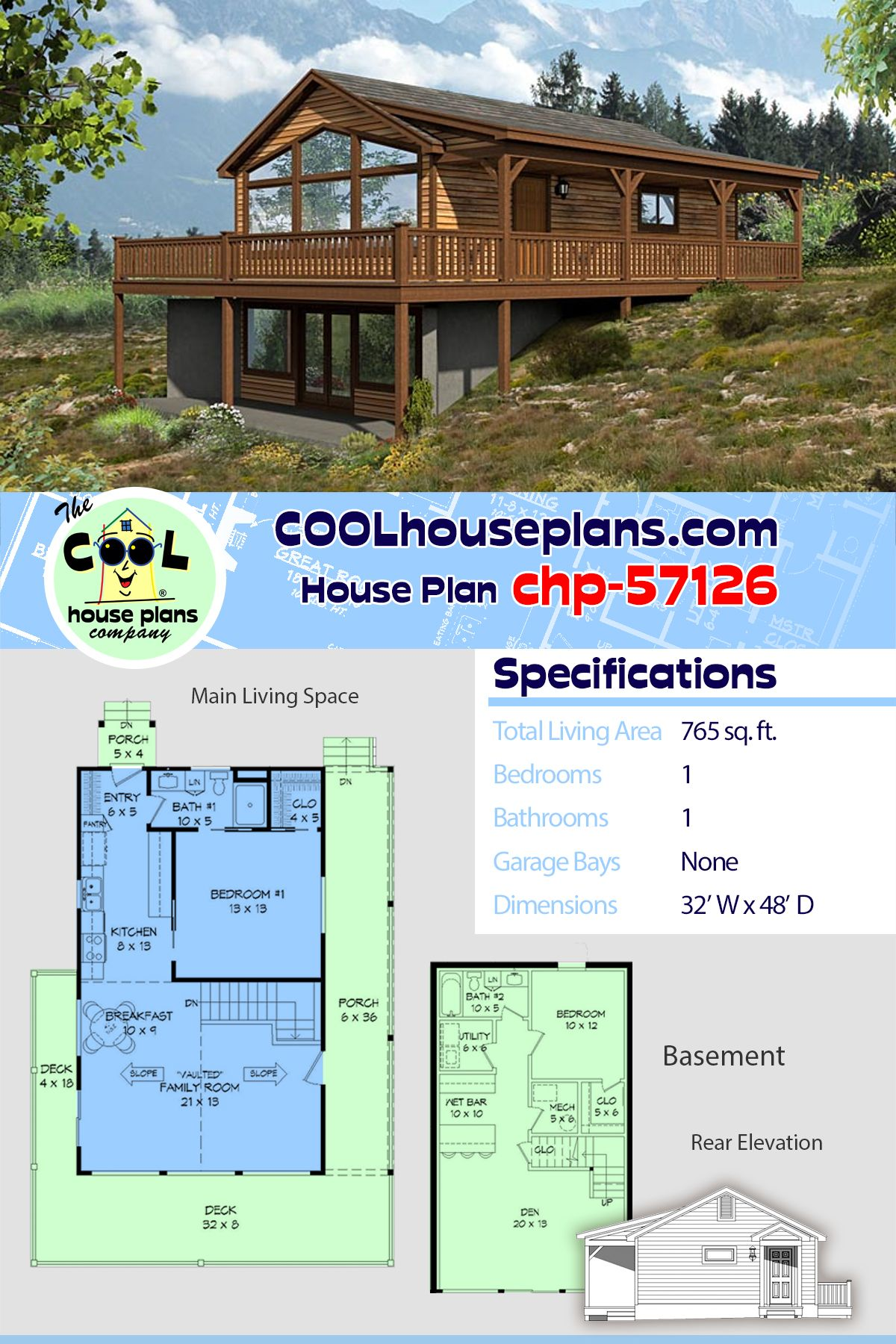 Country Style House Plan 51427 With 1 Bed 1 Bath Sloping Lot House Plan Country Style House Plans Cheap Basement Ideas