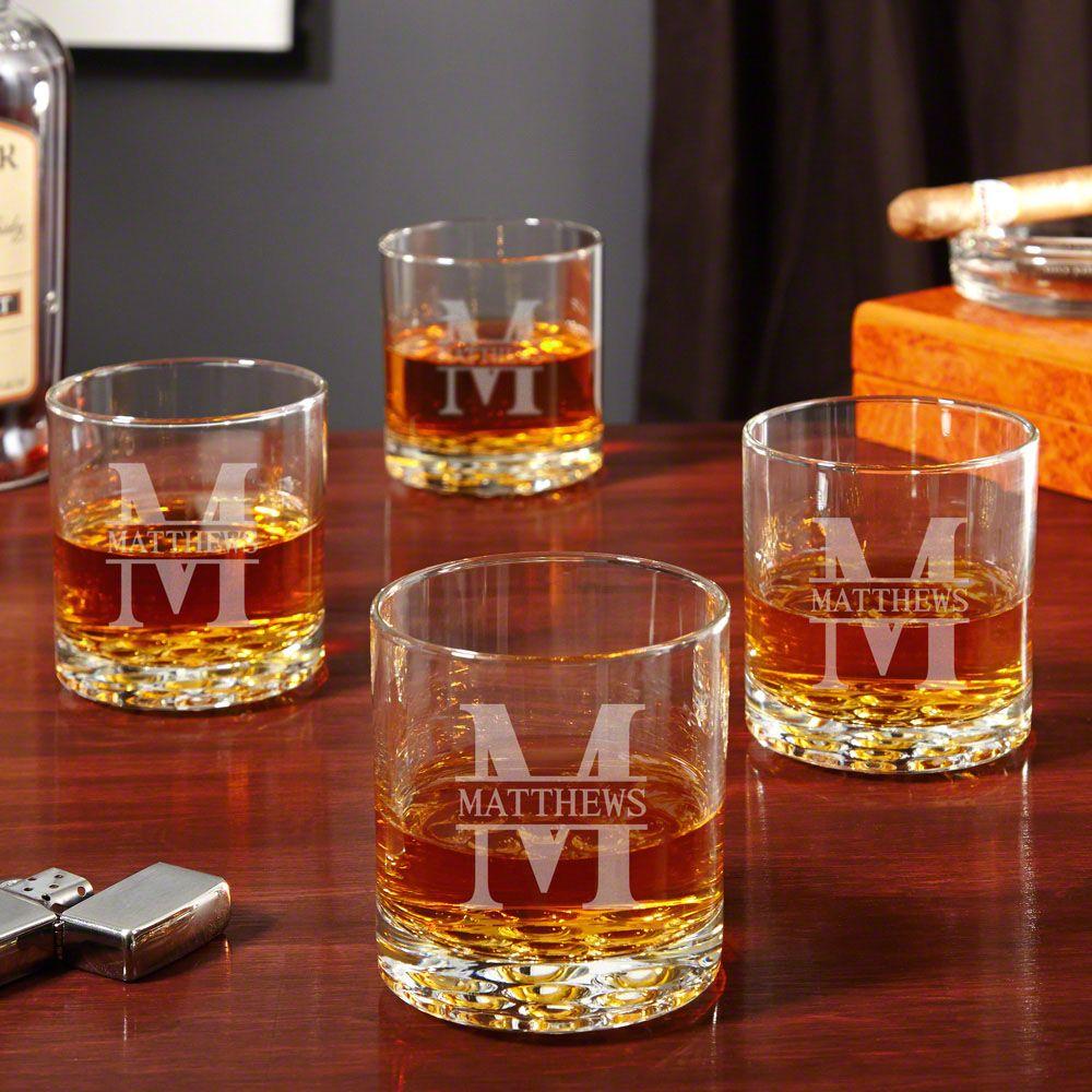 Oakmont Personalized Buckman Whiskey Glasses, Set of 4