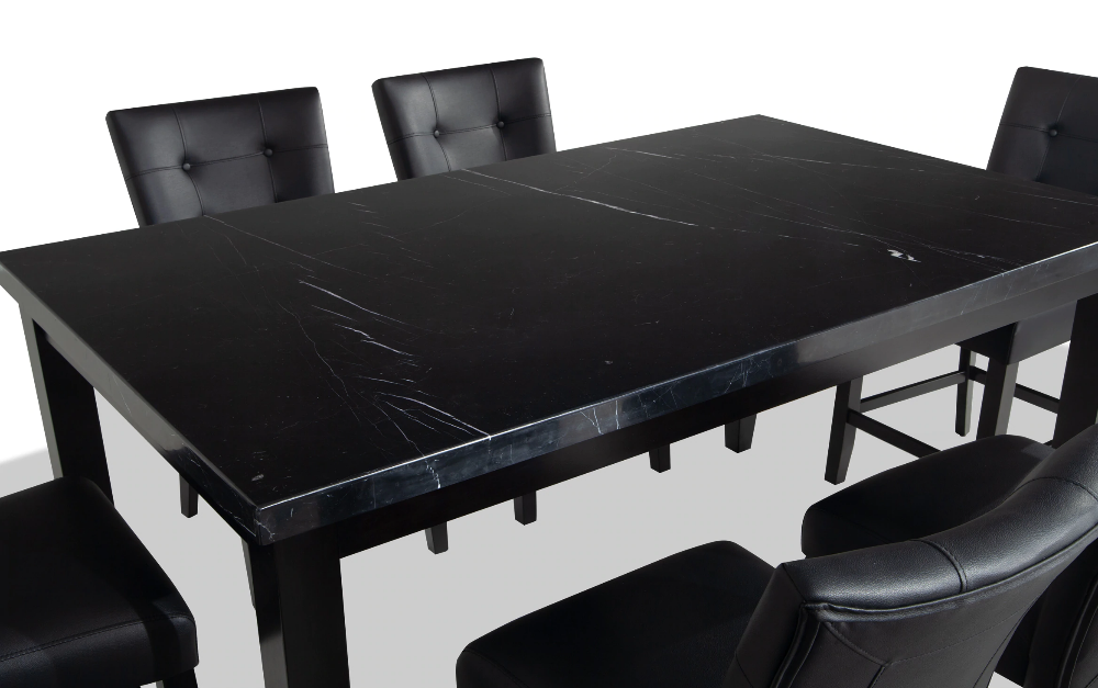 Montibello Black Marble 42 X 70 7 Piece Counter Set Counter Set Dining Room Sets Stone Table Top