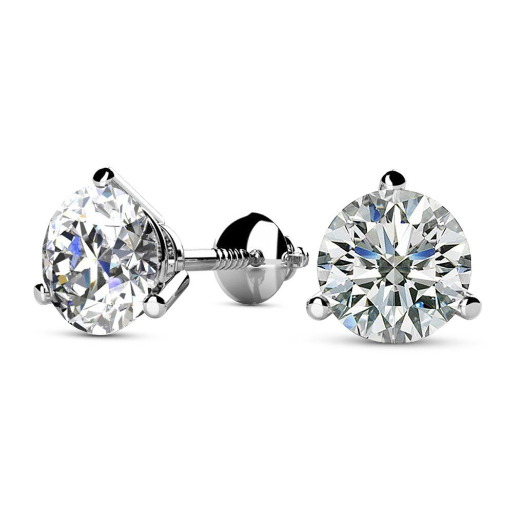 Brilliant 18Kt White Gold Round Imperial Crown AAA CZ 2 Ct  Stud Earrings