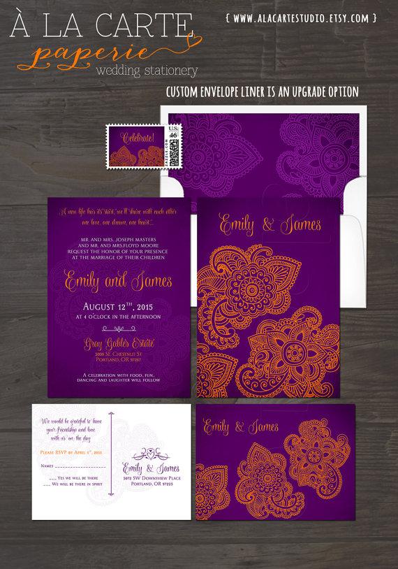 Indian Style Wedding Invitation Rsvp Card Purple Golden Destination Themed Invites Exotic Henna