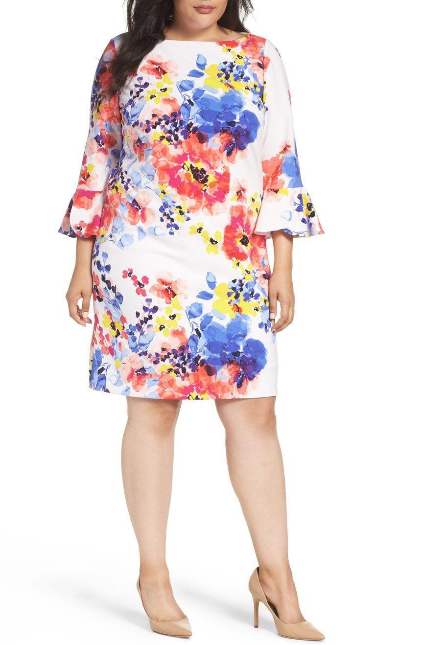 NORDSTROM Floral Print Shift Dress TAHARI EUR 136.46 | Model pakaian ...