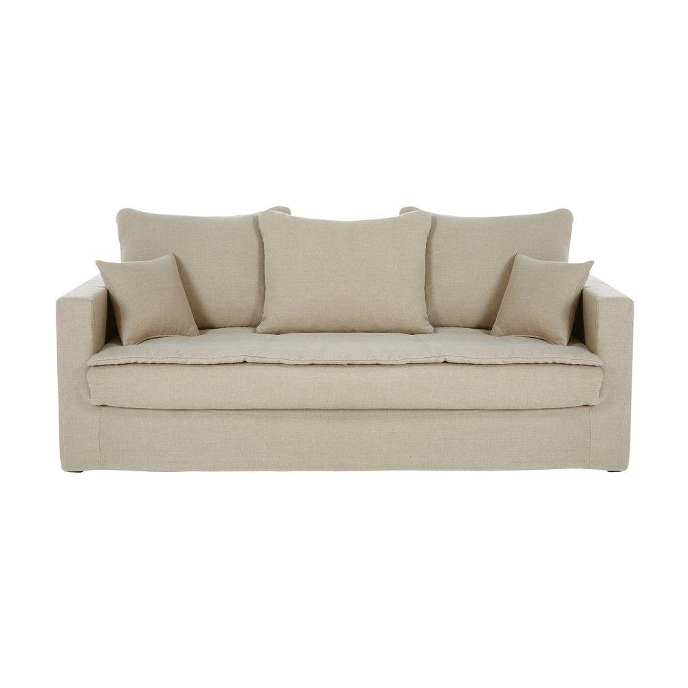 Canape Lit 3 Places En Lin Lave Beige Sofa Linen Sofa Furniture
