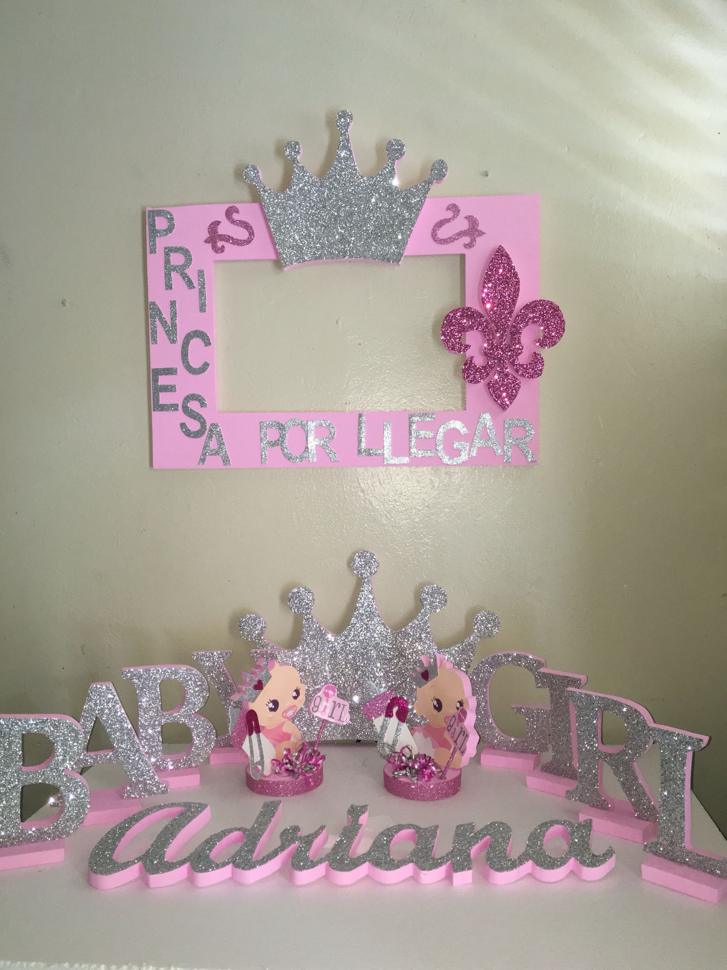 Princess Baby girl pink and silver decorations photobooth frame