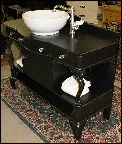Photo Of Sink And Faucet   Antique Bathroom Vanity: Unique American Oak  Antique   Vessel