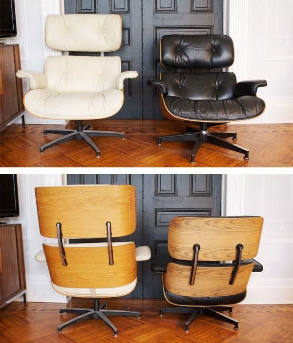 Eames lounge chairs real and replica with plush