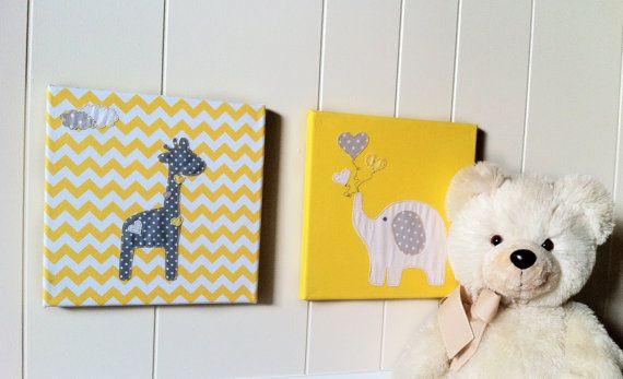Nursery animal art Yellow Fabric wall art by WonderlandHomeDecor ...