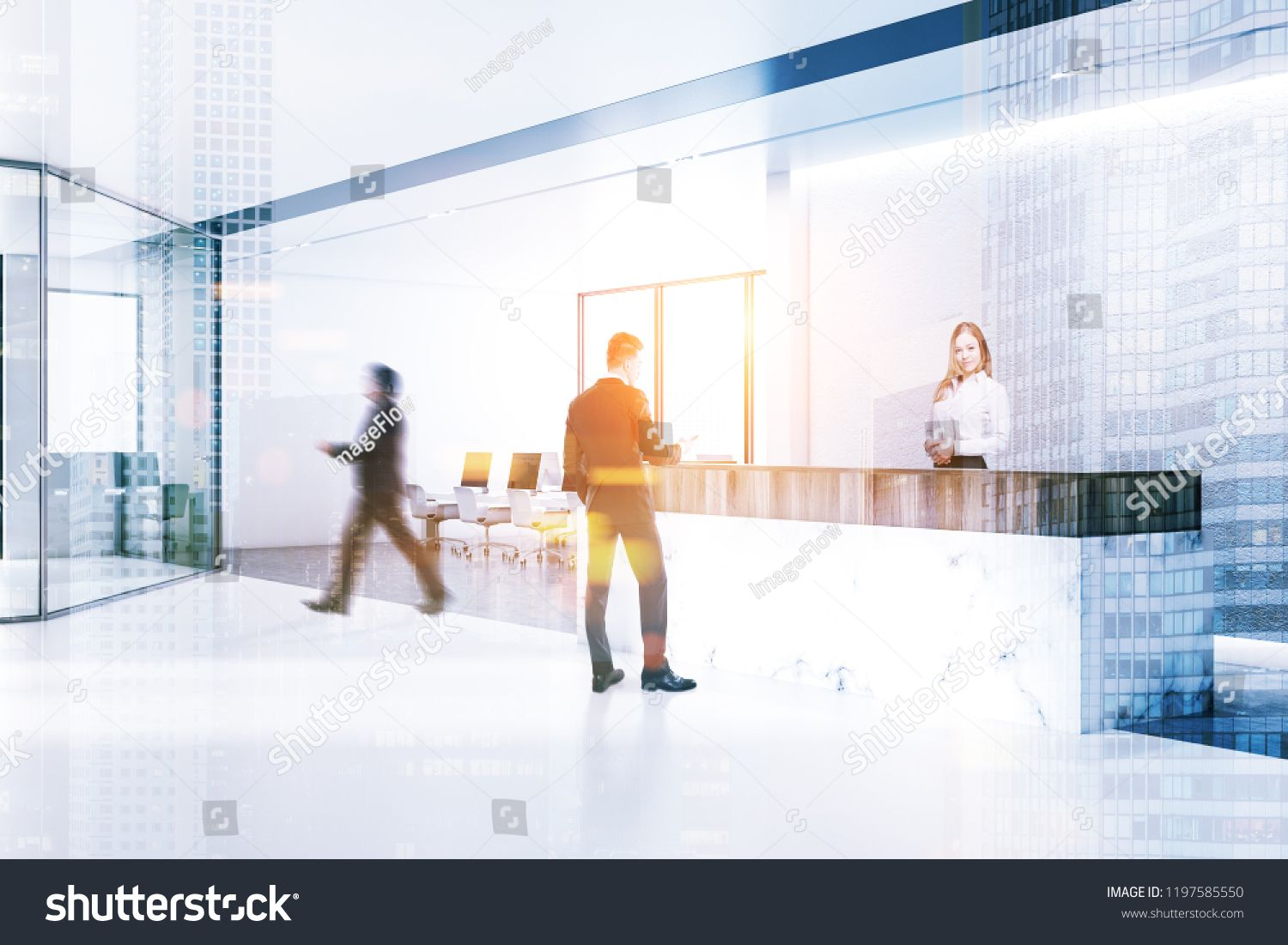 Business People In Minimalistic Office Interior With White Walls Concrete Floor With Rows Of Tables With Black Office Interiors White Concrete Concrete Floors