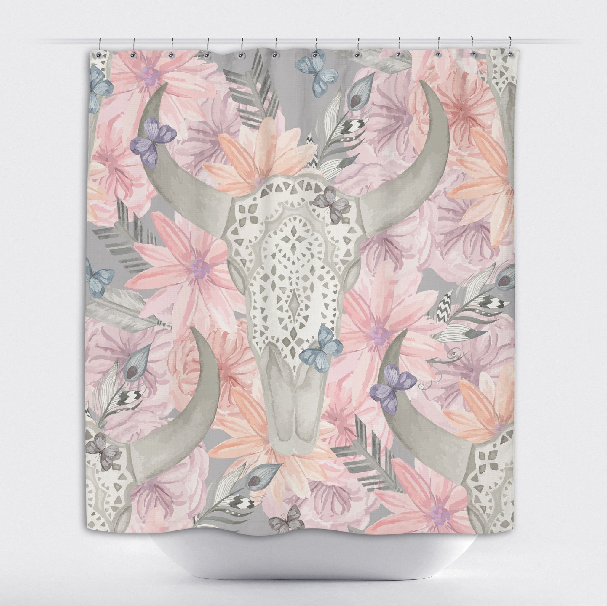Longhorn Skull With Lace And Pink Flowers Shower Curtains And