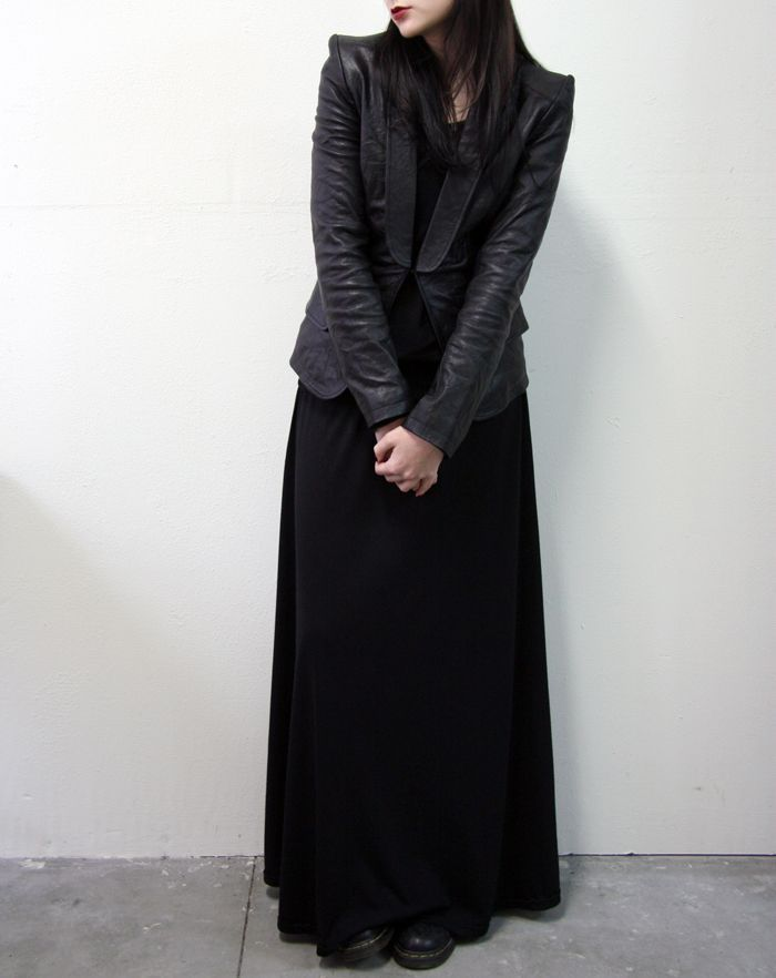Leather jacket with sleek maxi dress. I love it!