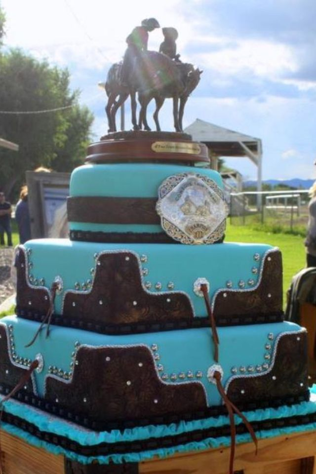 Western Wedding Cake Turquoise Tooled Leather Buckle Www Facebook Com Vintagekitchencakes Country Wedding Cakes Cowboy Wedding Cakes Western Wedding Cakes