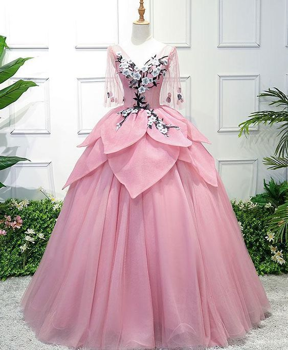 BEAUTIFUL PINK TULLE, LACE PROM DRESS, V NECK PROM DRESS, MID SLEEVES, LONG EVENING DRESS ,3D FLOWER APPLIQUE EVEING GOWNS #flowerdresses